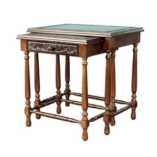 Classic Duo (Set of 2) Nesting Tables Unique Decorator Accent Dark Brown Hand Tooled Leather and Cedar Wood Side Tables (Peru)