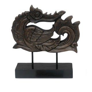 Handcrafted Raintree Wood 'Magnificent Huang' Sculpture (Thailand)