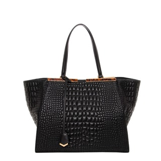 Fendi '3Jours' Black Quilted Leather Croc Embossed Shopper