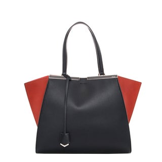 Fendi 'Jours' Navy and Red Bi-color Leather Shopper