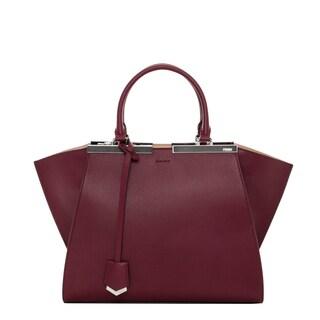 Fendi '3Jours' Small Burgundy Leather Shopper