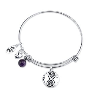 Shine Stainless Steel 'Always Sisters, Always There' Expandable Charm Bangle