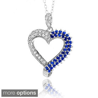 Glitzy Rocks Sterling Silver Created Sapphire Heart Necklace