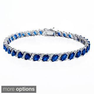 Glitzy Rocks Sterling Silver 13 1/8ct TGW Created Sapphire Bracelet