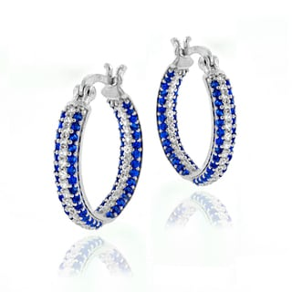 Glitzy Rocks Sterling Silver Created Sapphire Inside Out Hoop Earrings