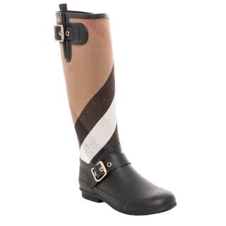 Burberry Women's Birkback Check Knee-high Rainboots