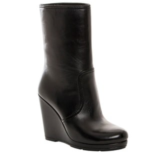 Prada Women's Black Leather Wedge Heel Midi Boots