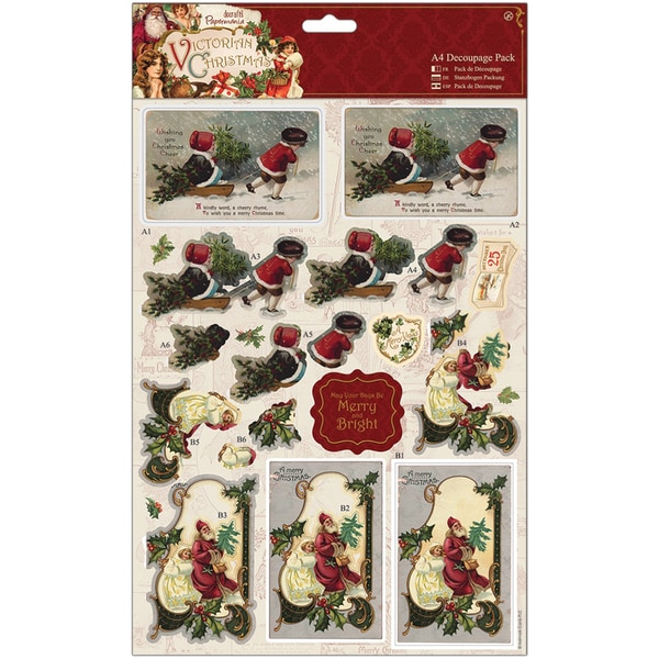 Papermania Victorian Christmas A4 Decoupage Pack-Sleigh