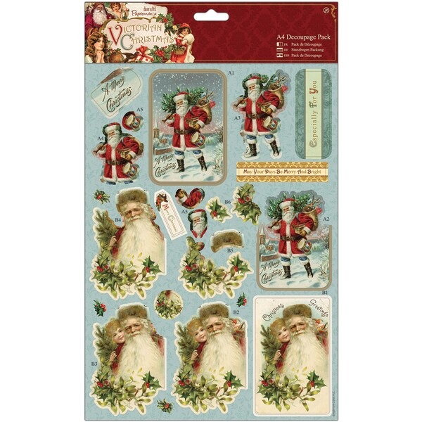 Papermania Victorian Christmas A4 Decoupage Pack-Santa