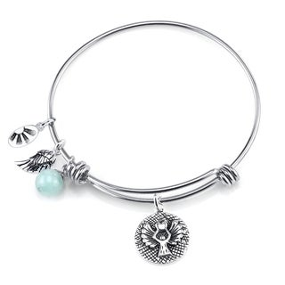Shine Stainless Steel Quartz Expandable 'Guardian Angel' Bangle