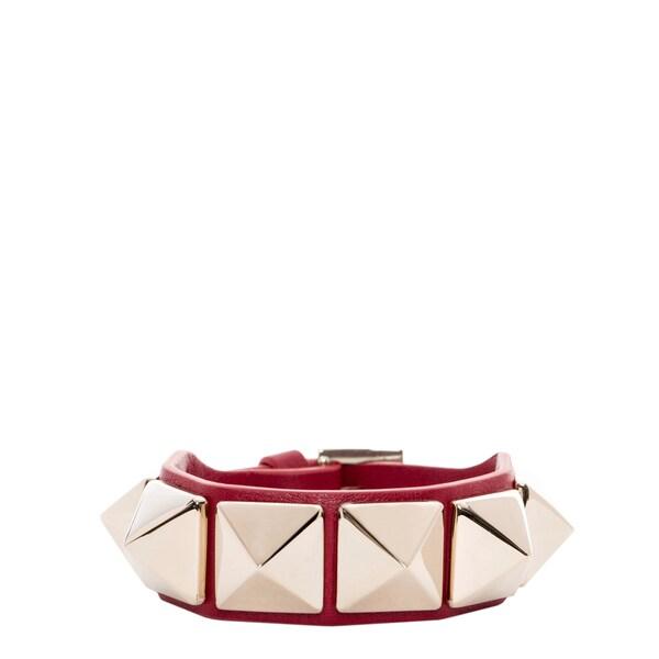 Valentino Macro Stud Leather Bracelet