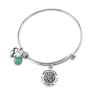 Shine Stainless Steel 'St Christopher Protect Us' Expandable Charm Bangle