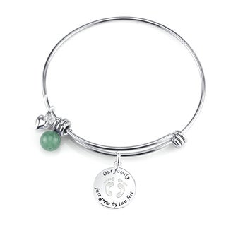 Shine Stainless Steel Quartz Expandable 'Our Family Just Grew by Two Feet' Bangle