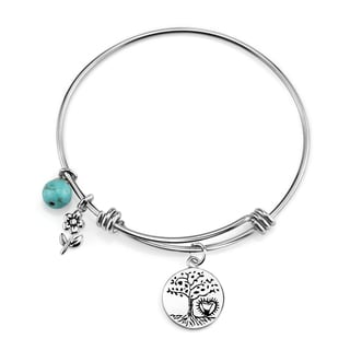 Shine Stainless Steel 'Where There Is Love There Is Life' Expandable Charm Bangle