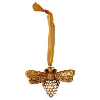 Sage & Co 3.5-inch Pearl Bee Christmas Ornament (Pack of 12)