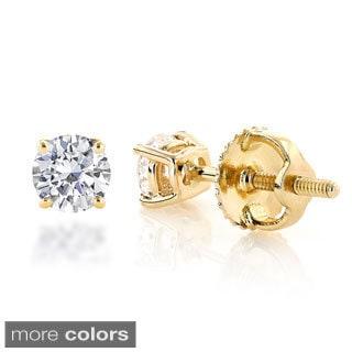 Luxurman 14k Gold Diamond 1/2ct TDW Round Diamond Stud Earrings (H-I, SI1-SI2)
