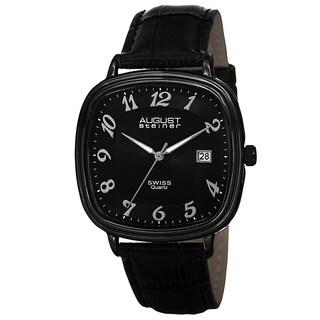 August Steiner Men's Swiss Quartz Etched Pattern Dial Genuine Leather Strap Watch