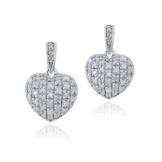 DB Designs Sterling Silver 3/4ct TDW White Diamond Heart Earrings (I-J, I2-I3)