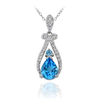 Glitzy Rocks Sterling Silver 1/5ct TDW Diamond Swiss Blue Topaz Teardrop Necklace