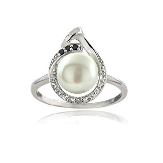 Glitzy Rocks Sterling Silver Pearl and Gemstone Teardrop Ring (8-9 mm)