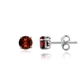 Glitzy Rocks Sterling Silver 5/8ct TGW Garnet 4mm Round Stud Earrings