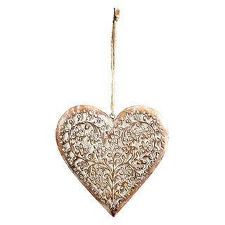 Sage & Co 8-inch Carved Wood Heart Ornament (Packed 2 Each)
