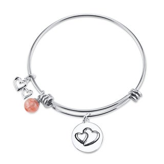 Shine Stainless Steel Quartz Expandable 'Always Sisters Always There' Bangle