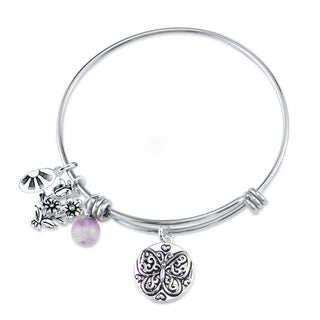 Shine Stainless Steel Quartz Expandable 'Believe' Bangle