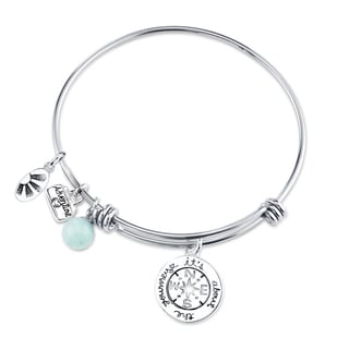 Shine Stainless Steel Quartz Expandable 'It's About the Journey' Bangle