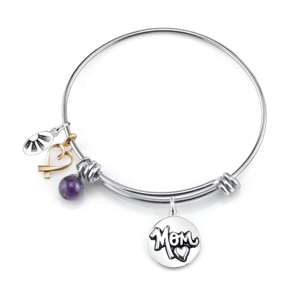 Shine Stainless Steel Amethyst Expandable 'Mom Always on My Mind, Forever in My Heart' Bangle