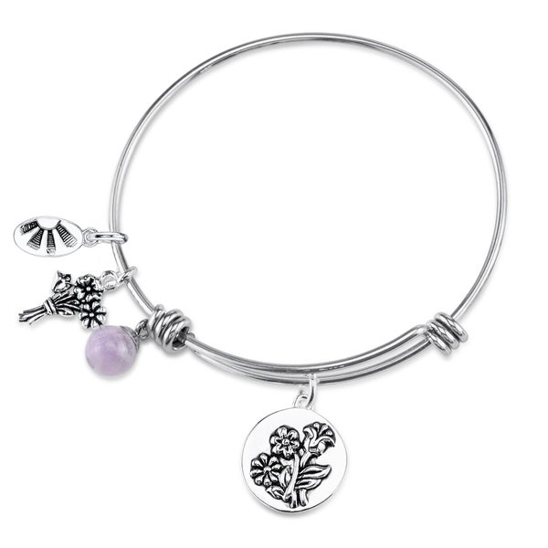 Shine Stainless Steel Quartz Expandable 'If Daughters Were Flowers I'd Pick You' Bangle