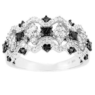 10k White Gold 7/8ct TDW Black and White Pave Diamond Ring (H-I, SI1-SI2)