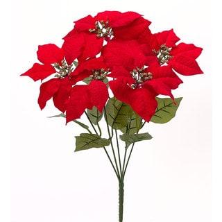18-inch Velvet Poinsettia Bush (Assortment of 3/ Pack of 12)