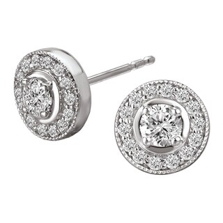 Avanti 14k White Gold 1/2ct TDW Round Halo Stud Earrings (G-H, SI1-SI2)