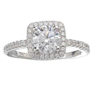 Avanti 14k White Gold 3/4ct TDW Cushion Shaped Halo Diamond Ring (G-H, SI1-SI2)