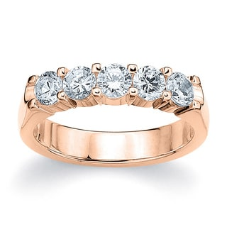 Amore 14K or 18K Rose Gold 1ct TDW Five Stone Round Diamond Wedding Band (G-H, SI1-SI2)