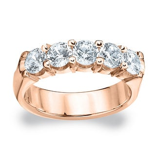 Amore 14K or 18K Rose Gold 2ct TDW Five Stone Round Diamond Wedding Band (G-H, SI1-SI2)
