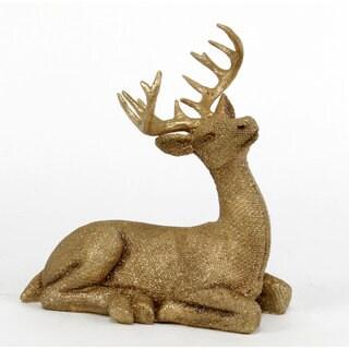 Sage & Co 8.5-inch x 5-inch x 9.5-inch Resin Glitter Sitting Deer