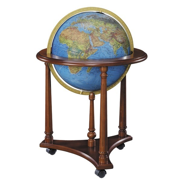 LaFayette Blue Illuminated Floor World Globe