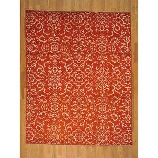 Hand-knotted Wool and Silk Modern Orange Oriental Rug (8' x 10')