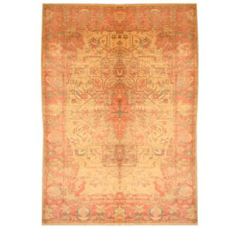 Herat Oriental Egyptian Hand-knotted Vegetable Dye Beige/ Rose Wool Rug (5'10 x 8'3)