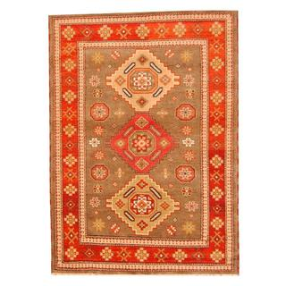 Herat Oriental Indo Hand-knotted Tribal Kazak Brown/ Red Wool Rug (5'8 x 7'10)