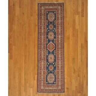 Hand-knotted Navy Kazakh Oriental Runner Rug (3' x 9')