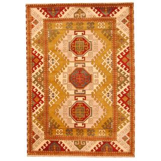 Herat Oriental Indo Hand-knotted Tribal Kazak Olive/ Ivory Wool Rug (5'9 x 8')