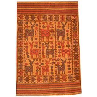 Herat Oriental Afghan Hand-knotted Soumak Beige/ Navy Wool Rug (6' x 9')