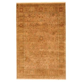 Herat Oriental Indo Hand-knotted Vegetable Dye Light Brown/ Green Wool Rug (5'6 x 8'5)