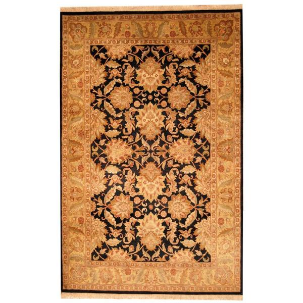 Herat Oriental Indo Hand-knotted Mahal Black/ Beige Wool Rug (6' x 9'5) 14408254