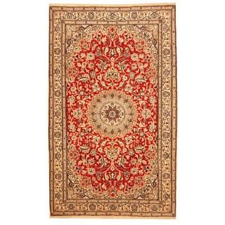 Herat Oriental Indo Hand-knotted Nain Red/ Ivory Wool and Silk Rug (5'2 x 8'6)