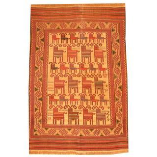 Herat Oriental Afghan Hand-knotted Soumak Light Brown/ Red Wool Rug (6' x 9')