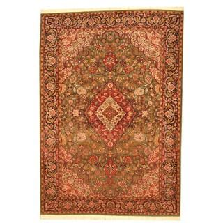 Herat Oriental Indo Hand-knotted Tabriz Green/ Red Wool Rug (6'3 x 9')
